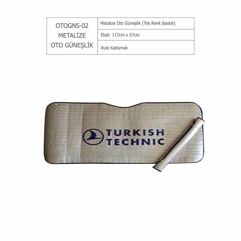 OTOGNS02 METALİZE OTO GÜNEŞLİK (TEK RENK BASKILI)